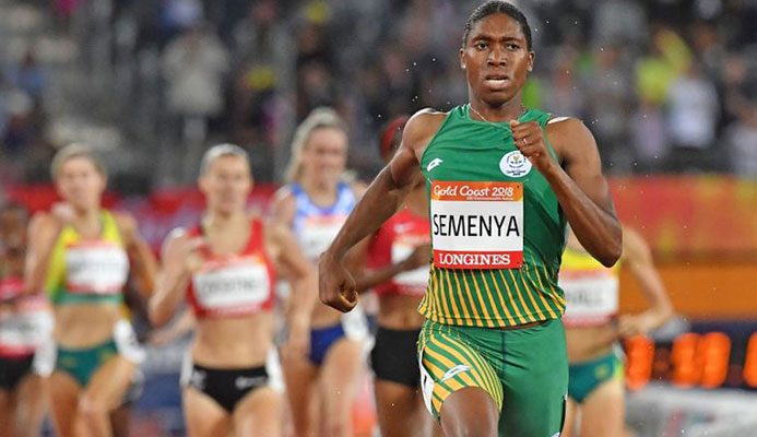 Caster Semenya competes in the athletics women's 1500m final during the 2018 Gold Coast Commonwealth Games at the Carrara Stadium on the Gold Coast on April 10, 2018.
