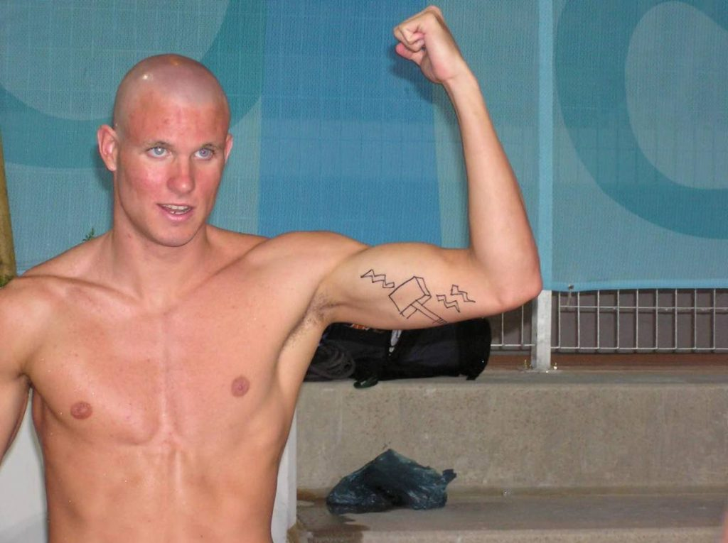 George Bovell III, showing off the 'hammer of justice' -